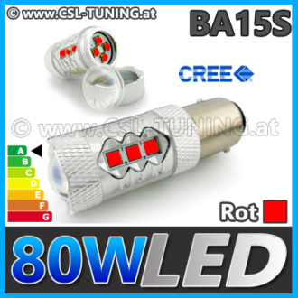 80W (BA15S) CREE HighPower LED (P21W) Lampe Leuchtmittel (Rot)